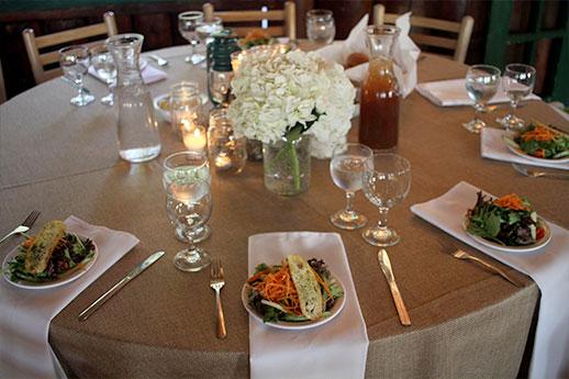Dining hall table closeup