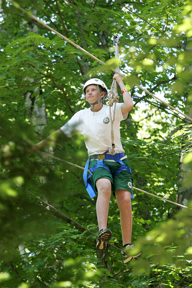 Independently walking a high ropes course