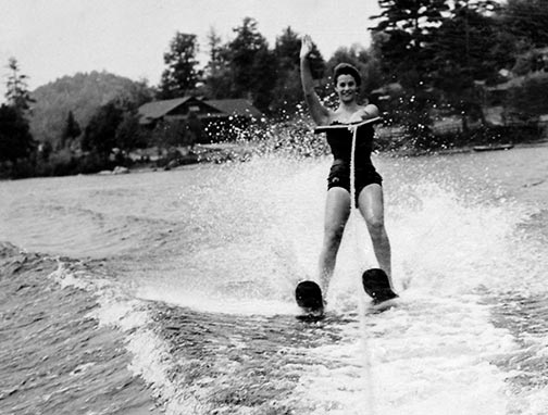 1950's girl waterskiing at Raquette Lake